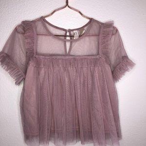 Nwot H&M divided mauve tulle short sleeve blouse